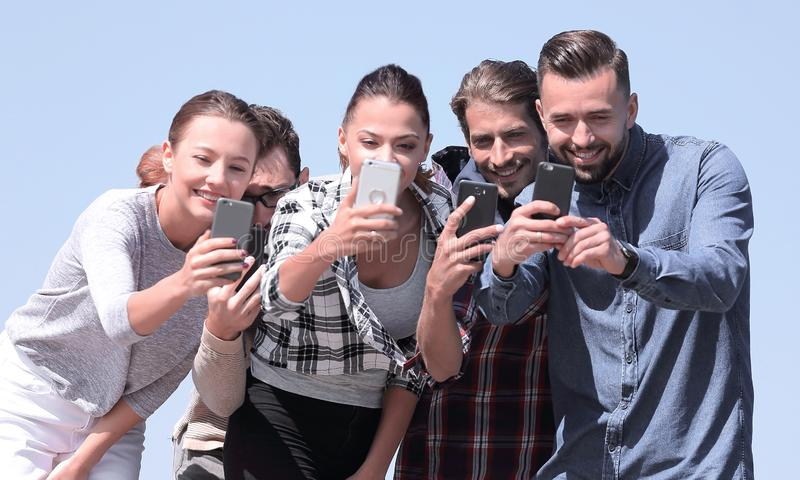 Closeup. friends students make a selfie. Photo with copy space royalty free stock photography
