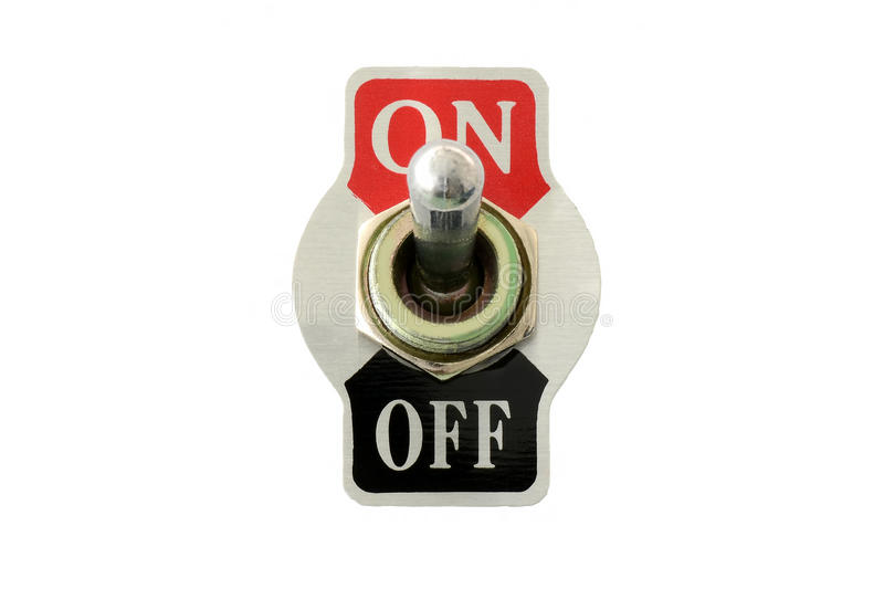 Closeup front view of toggle switch stock images
