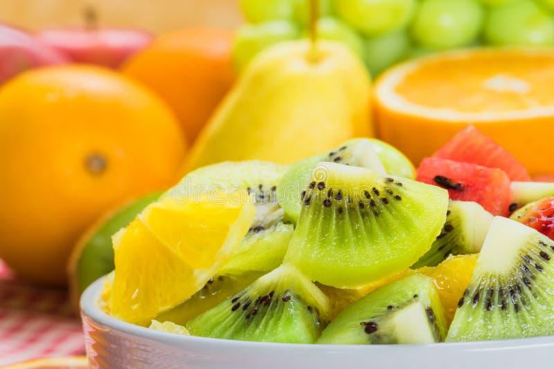 Closeup fruits salad for healthy royalty free stock photo