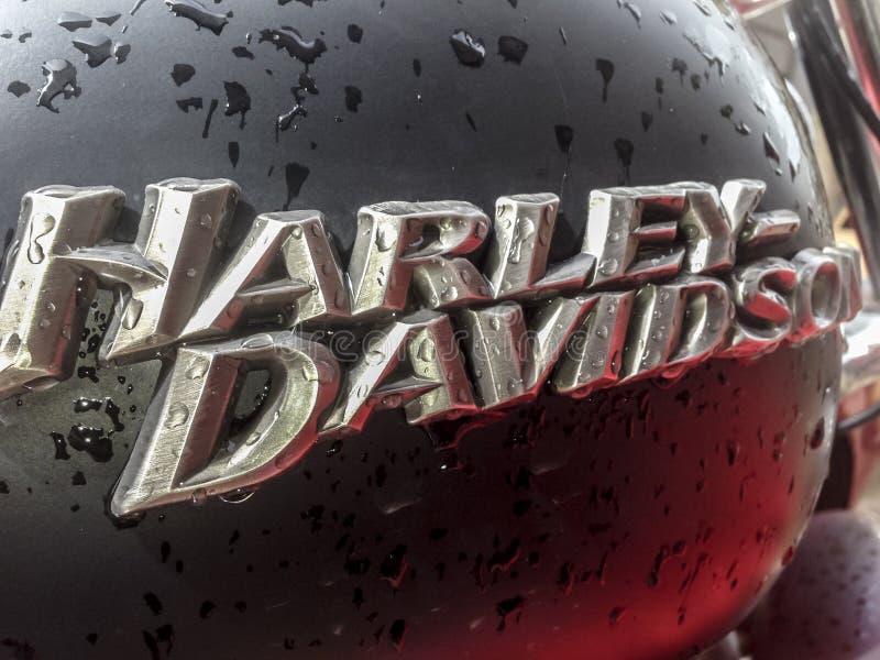 Closeup fuel tank of Harley Davidson motorcycle full of rain drops. Badajoz, Spain, April 16, 2016: Closeup fuel tank of Harley Davidson motorcycle full of rain royalty free stock photo