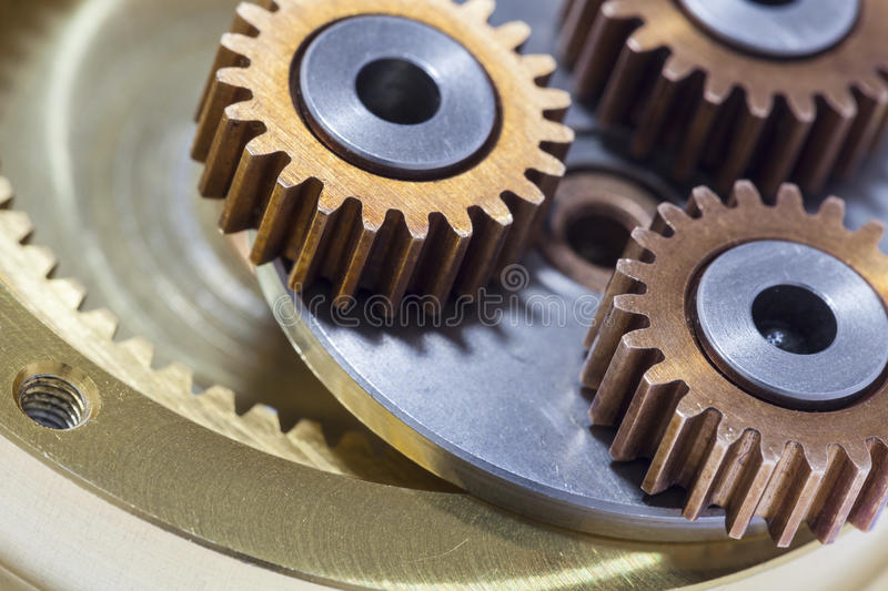 Closeup of Gears metal wheels and cogs. royalty free stock photography