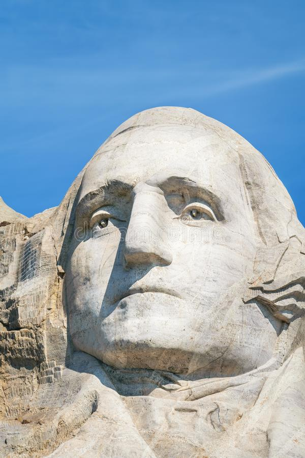 Closeup of George Washington, First President of the United States. Presidential sculpture at Mount Rushmore National Monument, So. Uth Dakota, USA royalty free stock photos