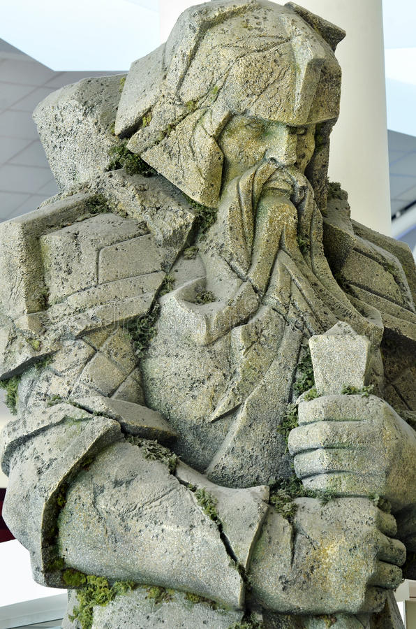 Closeup giant carved stone dwarf from set lord rings at