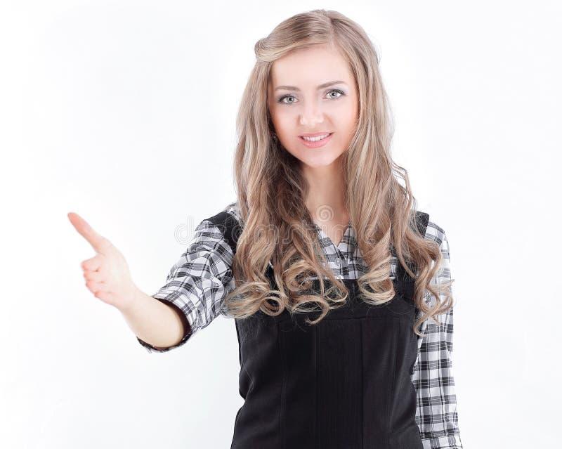 closeup giovane donna di affari che allunga mano per la stretta di mano fotografia stock libera da diritti