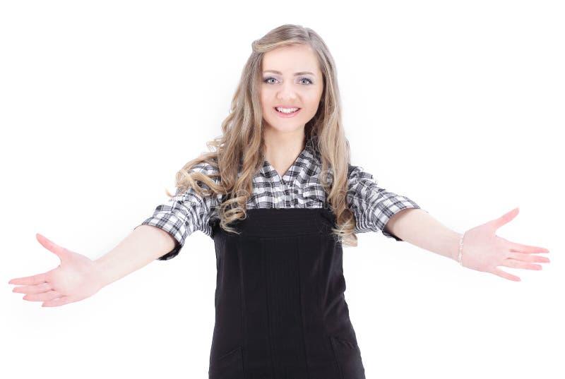closeup giovane donna di affari che fa un gesto d'accoglienza fotografia stock