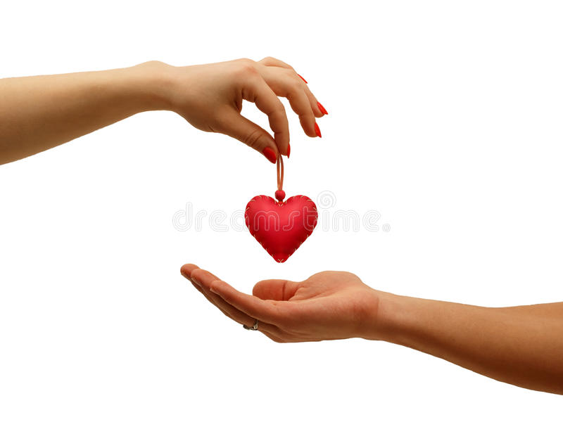 Closeup Girl\'s Hand Giving Red Heart In Hand Man, Stock Image ...