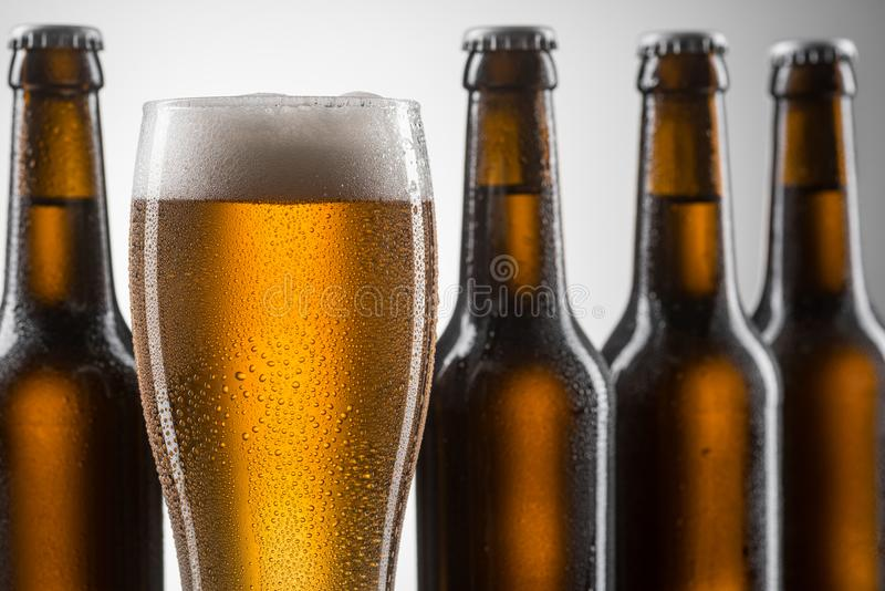Closeup on glass of beer stock photography