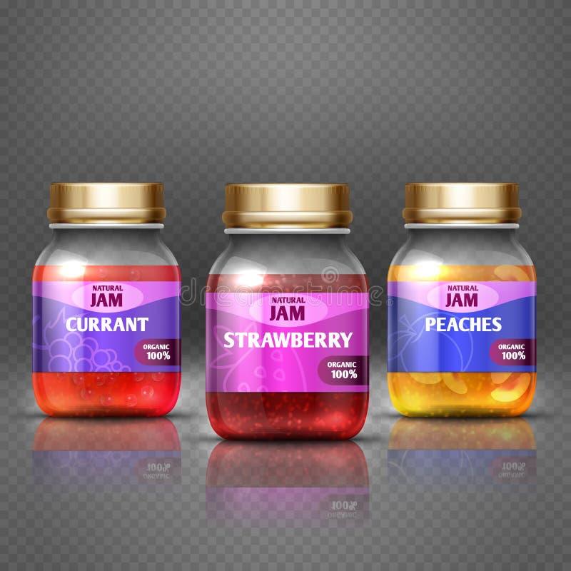 Closeup glass jar with jam, marmalade label and badge design vector illustration. Closeup glass jar with jam, marmalade with label and badge design vector vector illustration