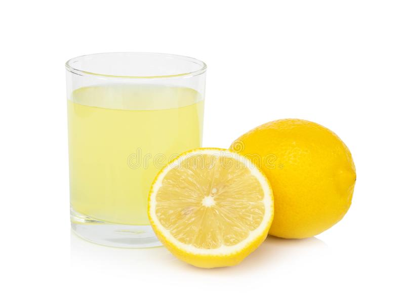 Closeup glass of lemon juice drink isolated on white background, food heathy concept. Closeup glass of lemon juice drink isolated on white background stock photography