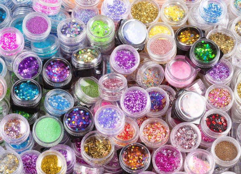 Closeup of Glitter Makeup Colors. royalty free stock photo
