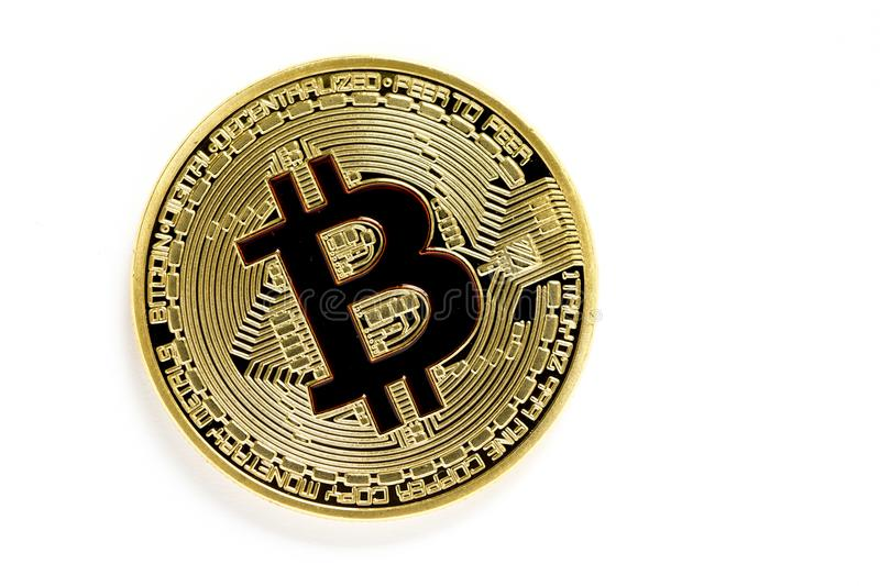 Golden bitcoin virtual coins isolated on white background. Closeup on golden bitcoin virtual coins isolated on white background royalty free stock photos