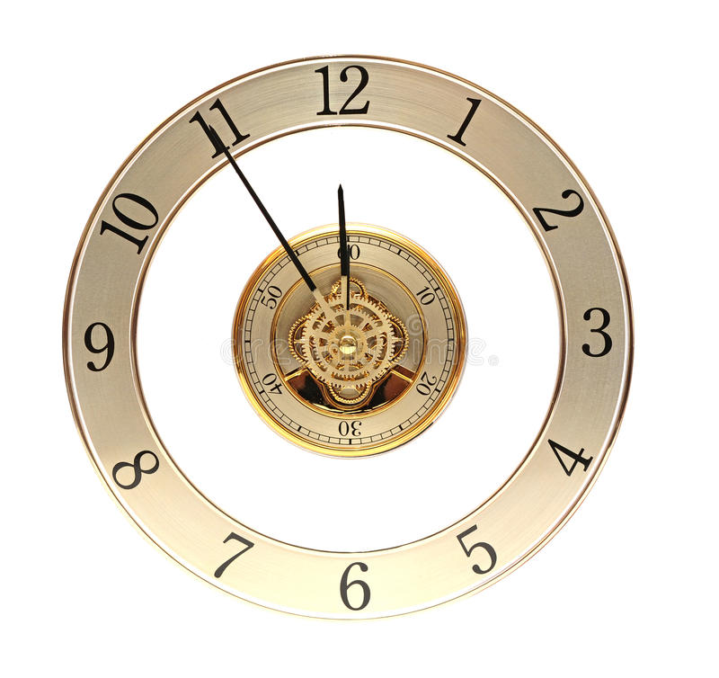Closeup golden clock with gears. On white royalty free stock photography