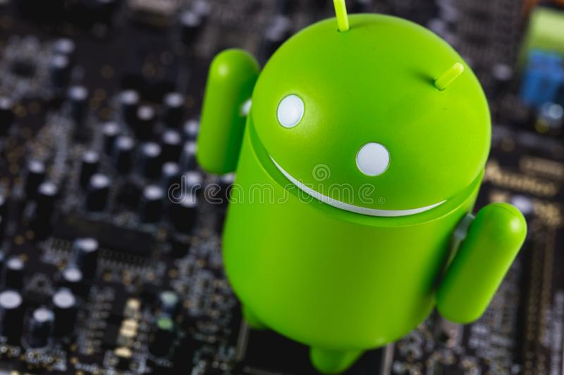 Google Android figure and circuit board royalty free stock images