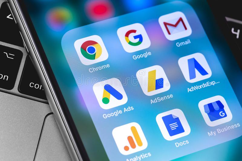 Google Services icons app on the screen. Smartphone. Internet marketing. Google is the biggest Internet search engine in the world. Moscow, Russia - April 9 royalty free stock images