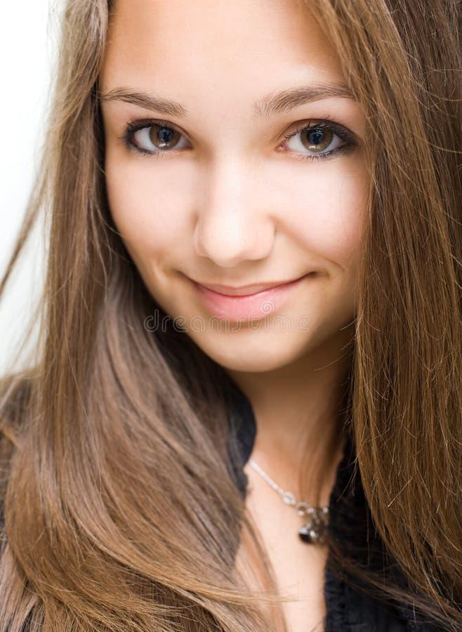 Closeup of gorgeous young brunette girl. stock photos