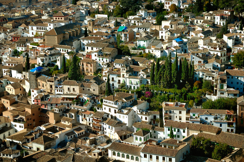 Closeup of granada roofs royalty free stock photos