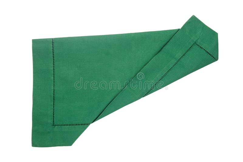 Closeup of a green napkin or tablecloth isolated on white background. Kitchen accessories.  stock photo