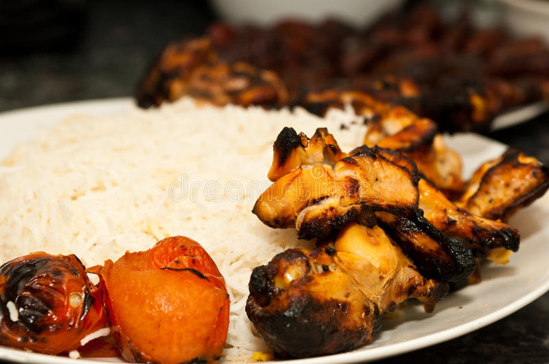 Closeup Of Grilled Chicken And Rice Royalty Free Stock Images