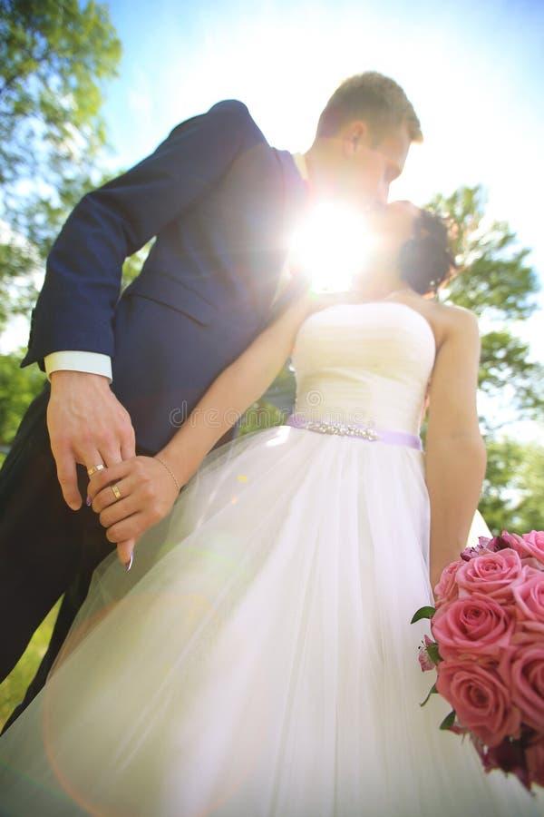 Closeup.the groom kisses the bride. photos outdoors. Concept of love royalty free stock photos