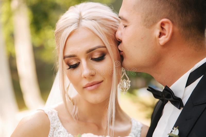 Closeup of groom kissing bride. Beautiful makeup and hairstyle. Portrait of lovely couple royalty free stock image