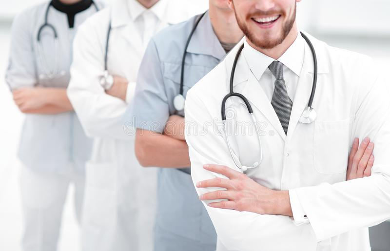 Closeup.a group of doctors. The concept of medical care stock images