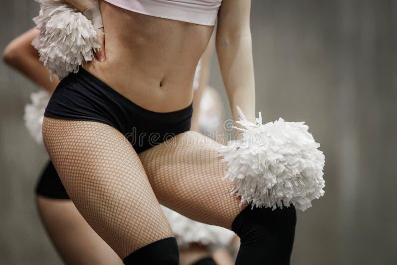 Closeup group of girls cheerleaders royalty free stock photos