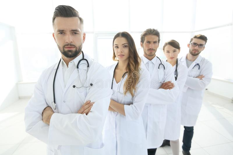 Closeup .group of medical workers royalty free stock photography
