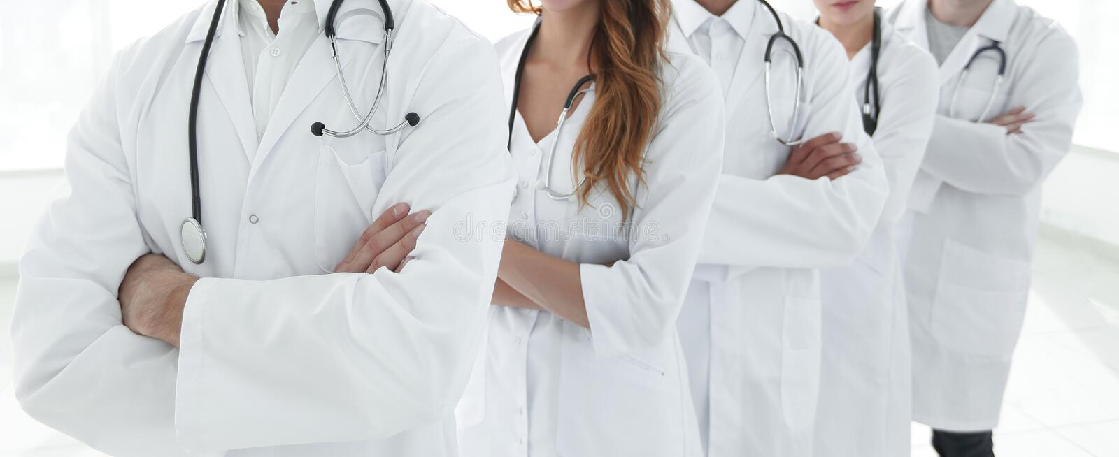 Closeup .group of medical workers stock photography
