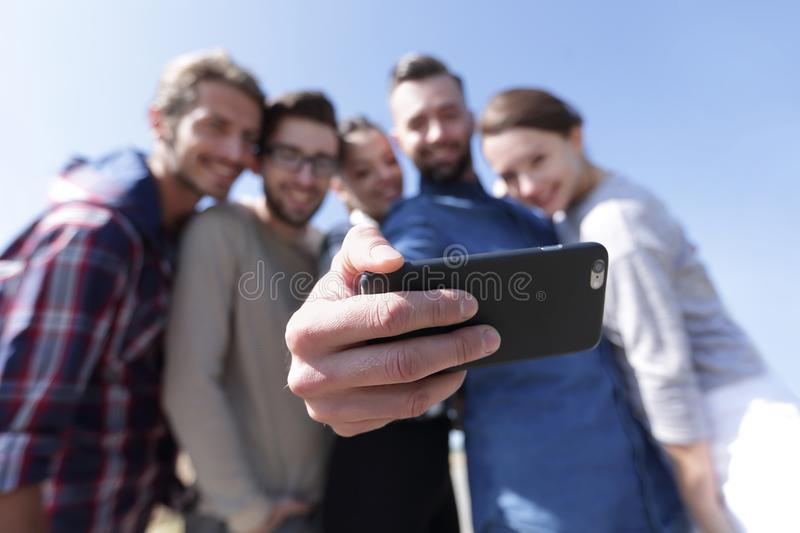 Group of students taking a selfie royalty free stock photos