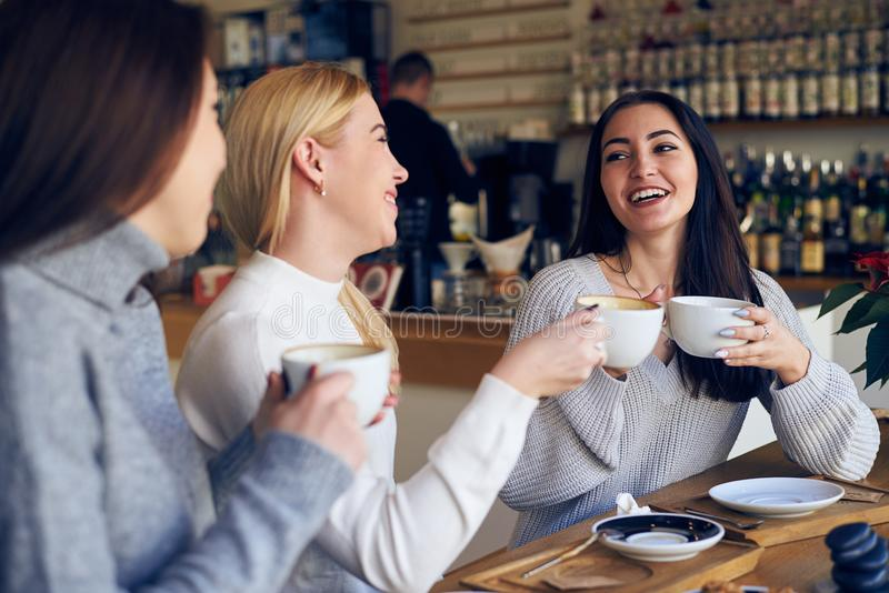 Group of women friends meeting for coffee at cafe royalty free stock photography