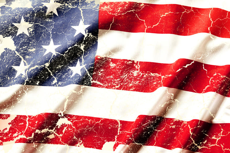 American flag. Closeup of grunge American flag stock image