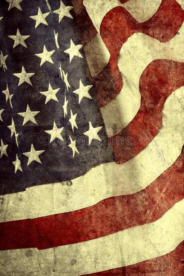 American flag. Closeup of grunge American flag stock illustration