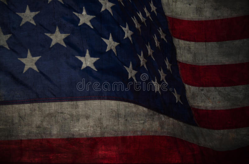 Closeup of grunge American flag stock image