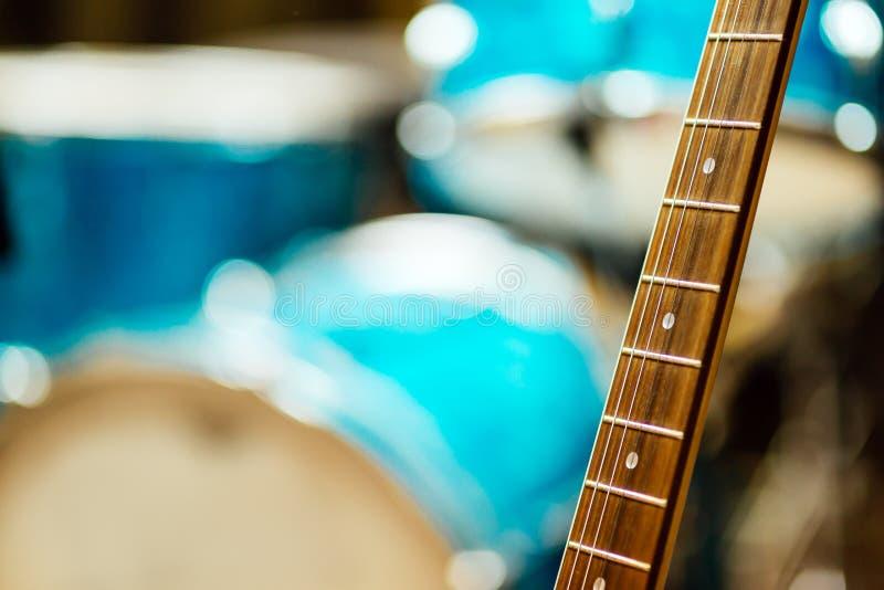 Guitar strings in studio royalty free stock photo