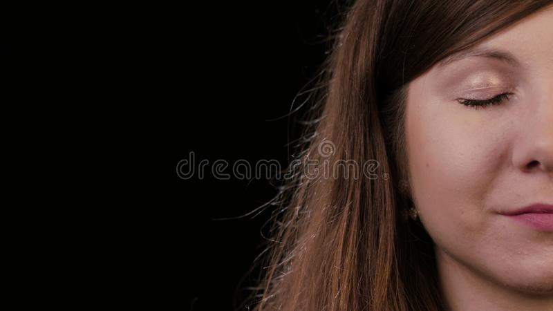 Closeup of Half Face of Young Woman royalty free stock photo