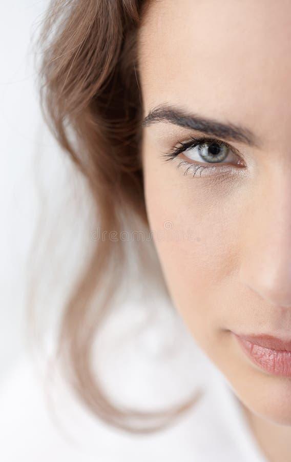 Closeup half portrait of beautiful woman royalty free stock images