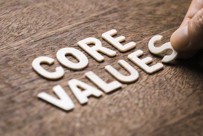 Core Values Wood Letters. Closeup hand arrange wood letters as CORE VALUES word stock images