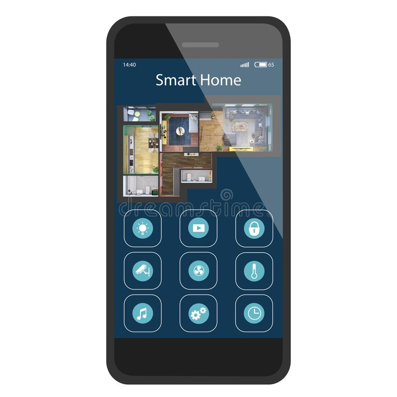 Closeup of hand with black smartphone and Smart home application icons interface design and isometric 3d rendering of apartment royalty free illustration