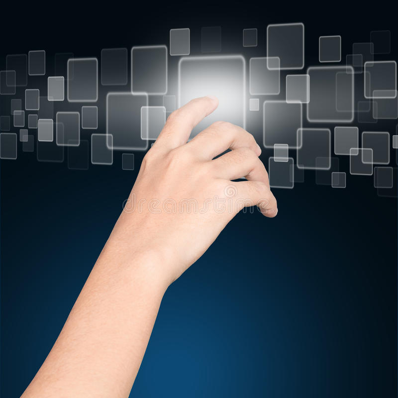 Closeup hand click on button future technology. Concept stock images