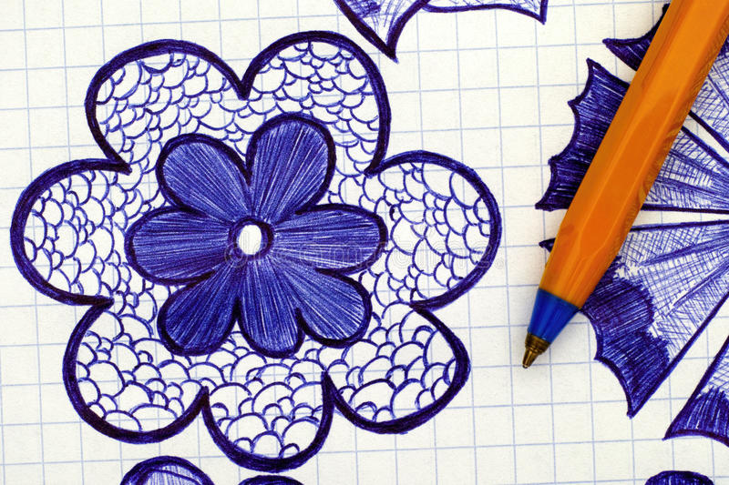 Closeup of hand drawn flower with ballpoint pen stock image
