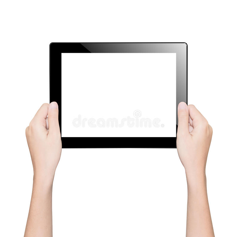Closeup hand holding tablet isolated clipping path inside royalty free stock photo