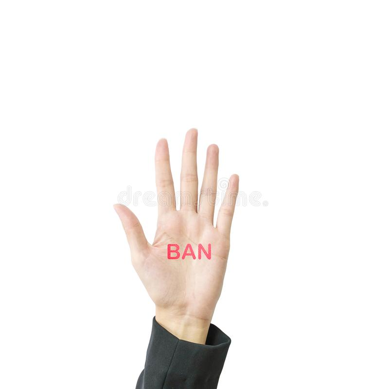 Closeup hand of working woman show five finger mean in stop something with ban word on hand isolated on white background with royalty free stock photo