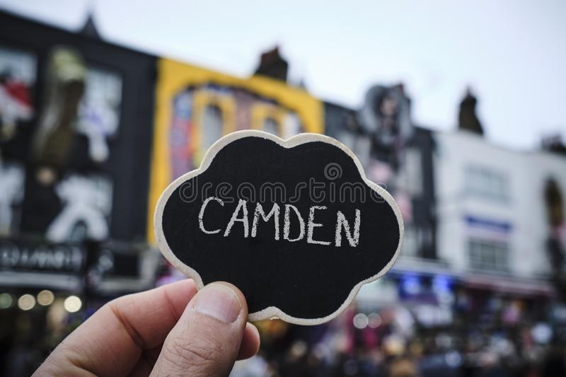 Word Camden in a signboard in London, UK royalty free stock image