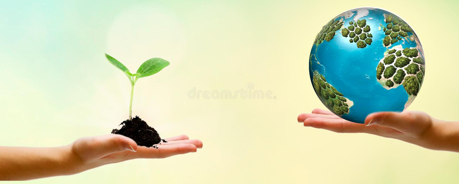 Closeup hands holding earth draw with chalk. World harmony green peace environment earth day together concept banner. Panoramic stock photos
