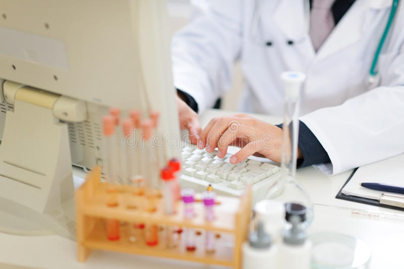 Closeup On Hands Of Medical Doctor Working On Pc Stock Images