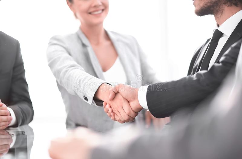 Closeup. the handshake business partners at officce stock photo