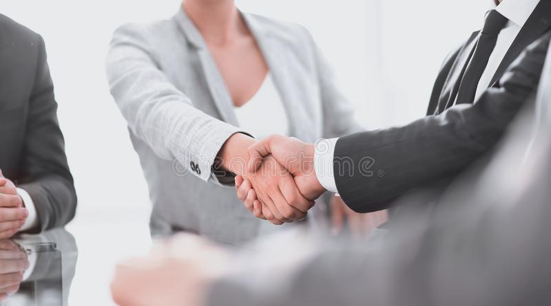 Closeup.the handshake business partners. royalty free stock images