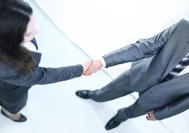 Closeup.the handshake business partners. isolated on a white stock image