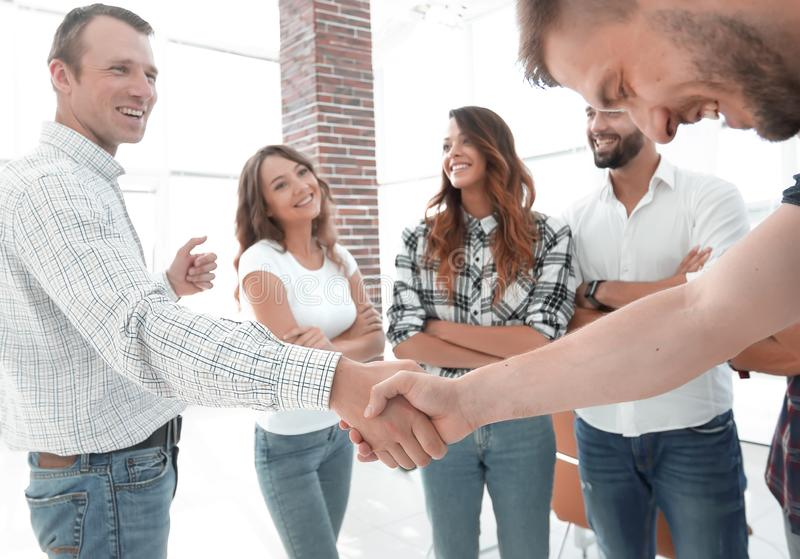 Closeup of handshake business people stock photo