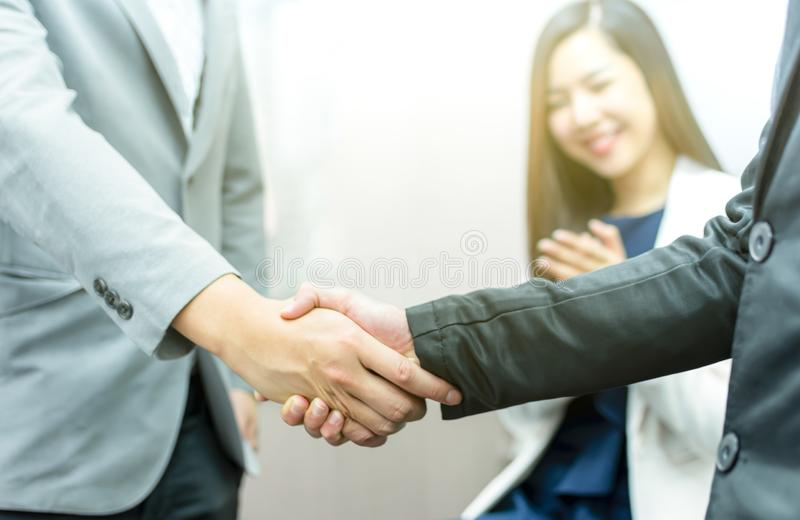 Closeup of handshake for dealing business royalty free stock photography